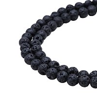 "PandaHall Elite Diameter 6mm Natural Black Lava Stone Rock Gemstone Gem Round Beads for Jewelry Making Findings 15.7"", about 64pcs/strand"