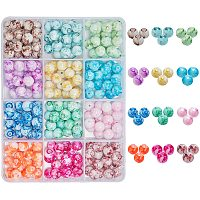 NBEADS 240 Pcs Spray Painted Glass Beads, 12 Colors Baking Painted Style Round Glass Beads for Jewelry Making Necklaces Bracelets DIY Supplies