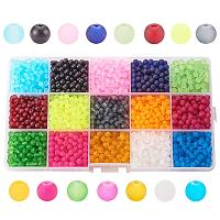 ARRICRAFT 1 Box (about 1500pcs) 15 Color 4mm Frosted Transparent Glass Bead Assortment Lot for Jewelry Making