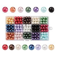 ARRICRAFT 1 Box(270pcs, 18pcs/Color) 15 Color Dyed Round Glass Pearl Beads Assortment Lot for Jewelry Making, 10mm, Hole: 1mm