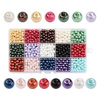 ARRICRAFT  1 Box(1050pcs, 70pcs/color) 15 Color Dyed Round Glass Pearl Beads Assortment Lot for Jewelry Making, 6mm