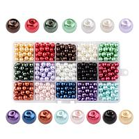 ARRICRAFT About 510pcs 15 Color Dyed Round Glass Pearl Beads Assortment Lot for Jewelry Making, 8mm, Hole: 1mm