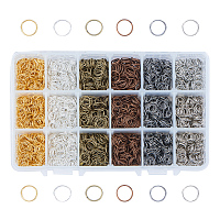 PandaHall Elite About 2100 Pcs Iron Open Jump Rings Unsoldered Diameter 8mm Wire 21-Gauge 6 Colors for Jewelry Findings