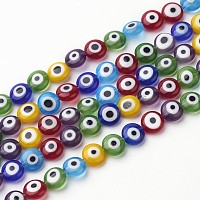 """ARRICRAFT About 51 Pcs Flat Round Handmade Evil Eye Lampwork Beads Mixed Colors 8x4mm for Jewelry Making 16"""""""
