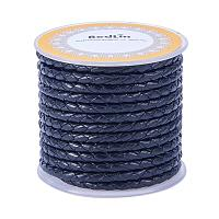 ARRICRAFT 1 Roll 4mm Round Folded Bolo Fold Braided Leather Cords for Necklace Bracelet Jewelry 5m per Roll Black