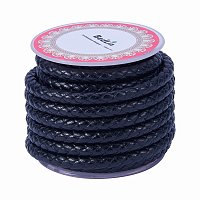ARRICRAFT 1 Roll 6mm Round Folded Bolo Fold Braided Leather Cords for Necklace Bracelet Jewelry 3.5m per Roll Black