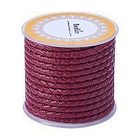 ARRICRAFT 1 Roll 4mm Round Folded Bolo Fold Braided Leather Cords for Necklace Bracelet Jewelry 5m per Roll Red