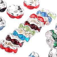 NBEADS 500pcs Grade B Acrylic Brass Rhinestone Spacer Beads, Rondelle, Silver, Mixed Color
