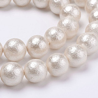 ARRICRAFT Wrinkle Textured Shell Pearl Beads Strands, Round, White, 6mm, Hole: 1mm, about 34pcs/strand, 7.7 inches(19.75cm)