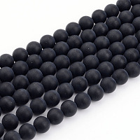 """Arricraft Natural Black Agate Bead Strands, Frosted, Round, 8mm, Hole: 1mm; about 49pcs/strand, 15.7"""""""