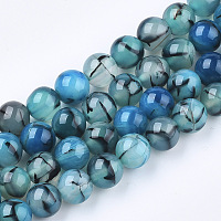 """Nbeads Dyed Natural Dragon Veins Agate Beads Strands, Round, SteelBlue, 10~10.5mm, Hole: 1.2mm; about 36pcs/strand, 15.5"""""""
