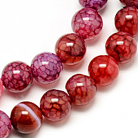 """Nbeads Natural Dragon Veins Agate Beads Strands, Dyed, Round, Crimson, 8mm, Hole: 1mm; about 48pcs/strand, 14.96"""""""
