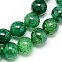 Nbeads Natural Dragon Veins Agate Beads Strands, Dyed, Round, Green, 8mm, Hole: 1mm; about 48pcs/strand, 14.96""