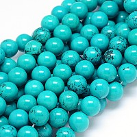 Natural Sinkiang Turquoise Round Bead Strands, Dyed & Heated, Medium Turquoise, 12mm, Hole: 2mm; about 35pcs/strand, 15.55 inches