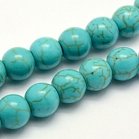 """Nbeads Synthetic Turquoise Beads Strands, Dyed, Round, Turquoise, 8x7~7.5mm, Hole: 1mm; about 50pcs/strand, 14.5""""(37cm)"""
