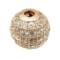 NBEADS 10PCS 8mm Brass Micro Pave Cubic Zirconia Real Rose Gold Round Beads Clear Gemstones Cubic Zirconia Round Beads Bracelet Connector Charms Beads for Jewelry Making