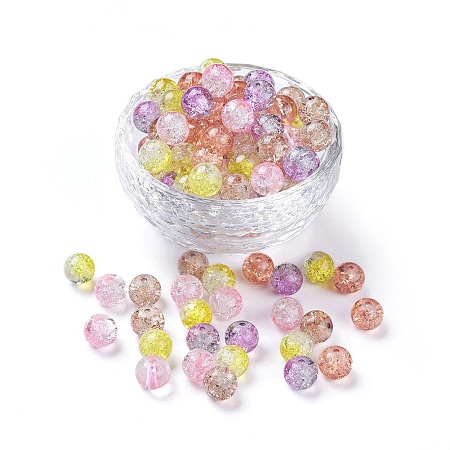 5 Colors Spray Painted & Baking Painted Crackle Glass Beads, Round, Mixed Color, 8mm, Hole: 1.3~1.6mm
