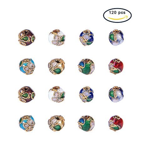 PandaHall Elite 120 Pieces 6mm Handmade Round Enamel Cloisonné Beads for DIY Jewelry Making Craft Loose Beads, Mixed Color
