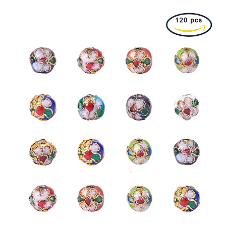 PandaHall Elite 120 Pieces 8mm Handmade Round Enamel Cloisonné Beads for DIY Jewelry Making Craft Loose Beads, Mixed Color