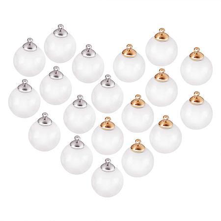PandaHall Elite 30 Pcs 14mm Mini Empty Clear Glass Globe Bottle Wish Ball Bottles DIY Pendant Charms with 30 Pcs 8mm Cap Bails for Jewelry Making