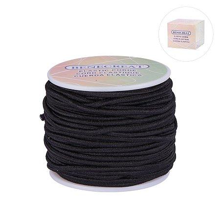BENECREAT 3mm 20 Yard Elastic Cord Stretch Thread Beading Cord Fabric Crafting String (3mm, Black)