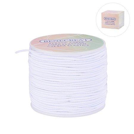 BENECREAT 2mm 50 Yard Elastic Cord Stretch Thread Beading Cord Fabric Crafting String (2mm, White)