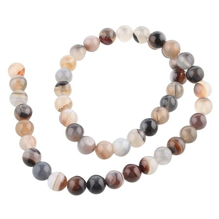 NBEADS 1 Strand 49PCS 8mm Smooth Polishing Natural Gemstone Botswana Agate Beads Strands, Gemstone Agate Bead Bulk for Jewelry Making, 14.96 Inch