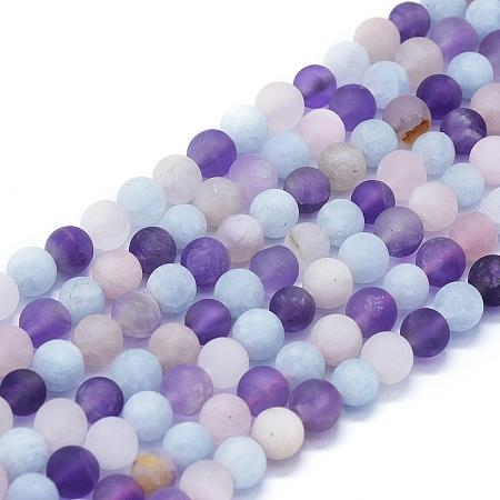 NBEADS Natural Rose Quartz & Amethyst & Aquamarine Beads Strands, Round, 6mm, Hole: 1mm; about 63~70pcs/Strand, 15.35''(39cm)