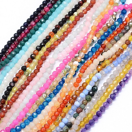 NBEADS Faceted Natural Agate Beads Strands, Dyed, Round, Mixed Color, 4mm, Hole: 1.2mm; about 92pcs/strand, 14