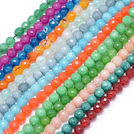 ARRICRAFT Natural Jade Beads Strands, Round, Faceted Dyed, Mixed Color, 6mm, Hole: 1mm; about 65pcs/strand, 15 inches(38cm)