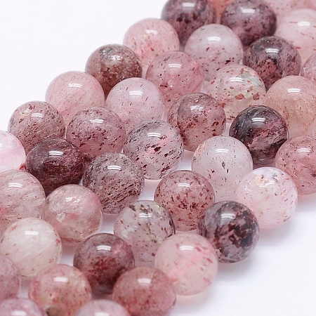 NBEADS Natural Strawberry Quartz Beads Strands, Round, 10mm, Hole: 1mm; about 40pcs/strand, 15.5