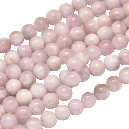 NBEADS 1 Strand 63pcs Grade AB Natural Kunzite Precious Gemstone Loose Beads, 6mm Round Smooth Charm Beads for Jewelry Making, 1 Strand 15.5