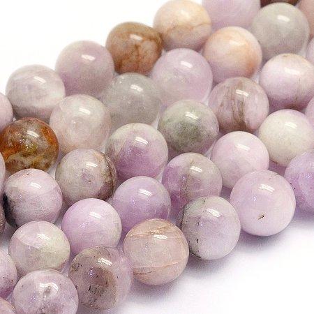 NBEADS 1 Strand 51pcs Grade AB Natural Kunzite Precious Gemstone Loose Beads, 8~8.5mm Round Smooth Charm Beads for Jewelry Making, 1 Strand 15.7
