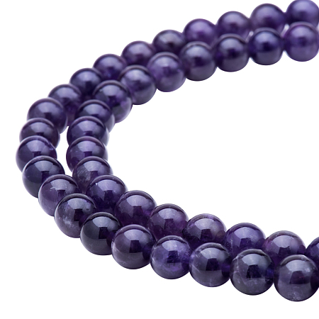 PandaHall Elite Diameter 8mm Grade AB Purple Natural Amethyst Gemstone Gem Round Loose Beads for Jewelry Making Findings 15.5