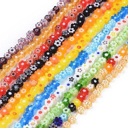 ARRICRAFT Handmade Millefiori Glass Bead Strands, Flower, Colorful, 3.7~5.6x2.6mm, Hole: 1mm; about 88~110pcs/Strand, 15.75''(40cm)