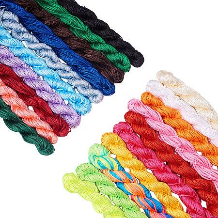 PandaHall Elite 20 Colors 1mm Chinese Knotting Cord Nylon Shamballa Macrame Thread Cord Beading String Bracelet Making(About 400m/ 430yards)