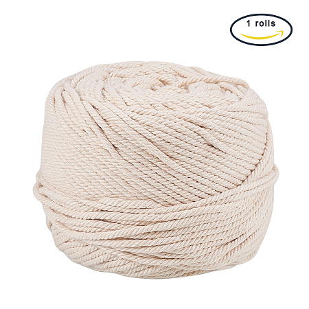 PandaHall Elite 4mm (about 109 Yards) Cotton Macrame Cord Twine, Craft Rope Yarn for DIY Plant Hanger Wall Hanging Decoration, NavajoWhite