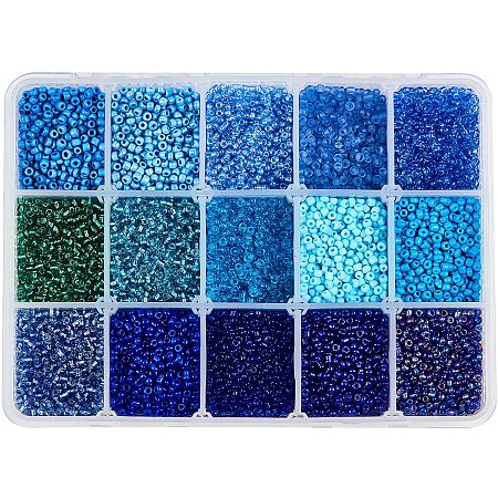 NBEADS 15 Colors 12/0 Glass Seed Beads, About 20010 Pcs Opaque Blue Seed Beads 2mm Round Pony Beads Mini Spacer Loose Beads for DIY Craft Bracelet Necklace Jewelry Making
