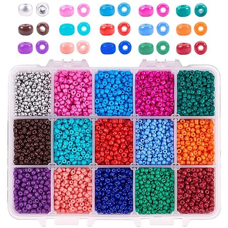 PandaHall Elite 3mm Waist Seed Beads, 7200pcs 15 Color Baking Paint Glass Seed Beads 8/0 Anklet Belly Seed Beads for DIY Bracelet Necklaces Beaded Wrap Bracelet, Belly Chains, Hawaii Bikini Jewelry