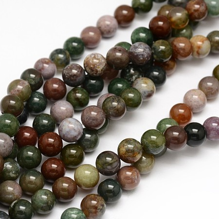Arricraft Natural Indian Agate Round Beads Strands, 6mm, Hole: 1mm; about 62pcs/strand, 15.3