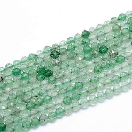 Natural Green Strawberry Quartz Beads Strands, Faceted, Round, 4mm, Hole: 0.6mm; about 110pcs/strand, 15.16 inches(38.5cm)