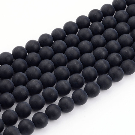 Arricraft Natural Black Agate Bead Strands, Frosted, Round, 8mm, Hole: 1mm; about 49pcs/strand, 15.7