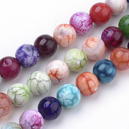Nbeads Natural Weathered Agate Beads Strands, Dyed, Round, Mixed Color, 8mm, Hole: 1mm; about 50pcs/strand, 15.7