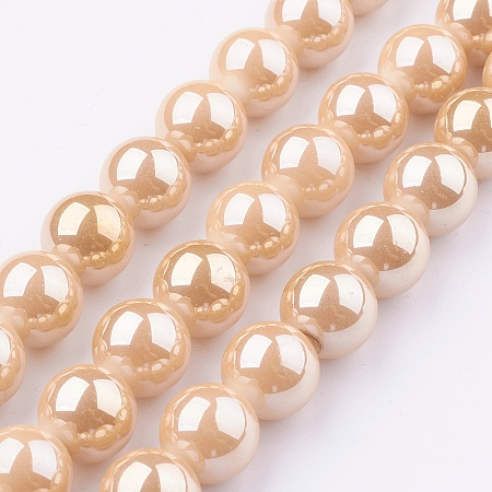 Arricraft Glass Beads Strands, Round, Bisque, 6mm, Hole: 1mm, about 70pcs/strand, 15.35 inches~15.7 inches(39cm~40cm)