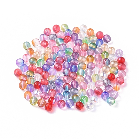 NBEADS Czech Lampwork Beads, Round, Mixed Color, 6mm, Hole: 0.9mm
